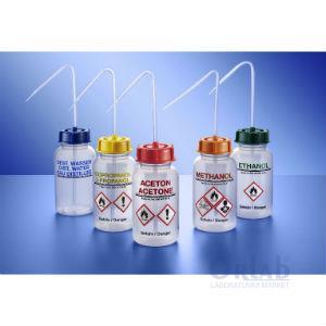 Piset, LDPE, Üzeri Yazılı, Geniş Boyunlu, Aceton, Kırmızı Kapak, 250 mL