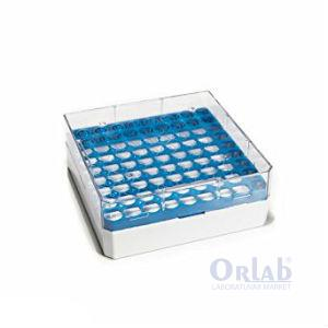 Rack 3-5 Ml Cryo Tüp İçin, Serigrafi, 81 Gözlü, Mavi,Yeni altı beyaz (-BSM58071B/AZ-)